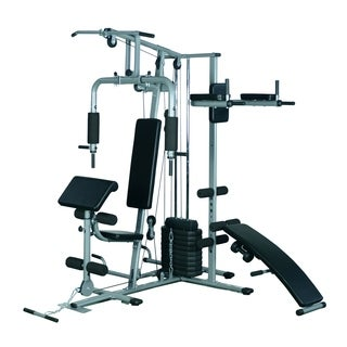 Soozier Complete Home Fitness Station Gym Machine With Weight Stack   Silver