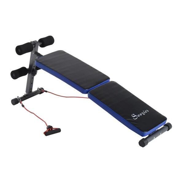 Shop Soozier Adjustable Folding Ab Decline Sit Up Bench With Resistance Bands Black