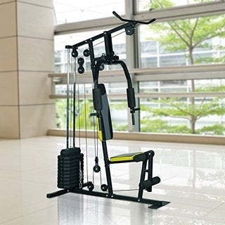Soozier Weight Stack Home Gym Equipment Machine - Black