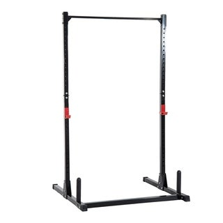 Soozier Adjustable Power Squat Rack Home Exercise Barbell Fitness Cage - Black