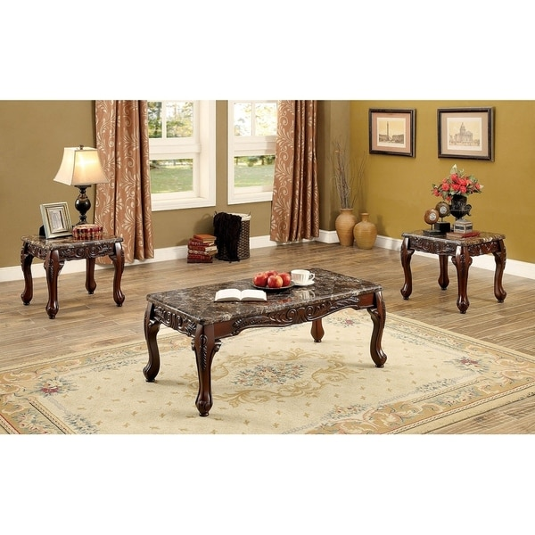 Wooden Coffee Table And End Tables Set With Faux Marble Top Pack Of 3