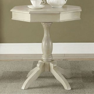 Iliana Transitional Octagon Accent Table, Antique White