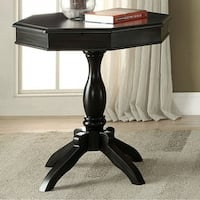 Iliana Transitional Octagon Accent Table, Antique Black