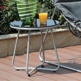 Benzara Lili Silver Metal and Glass Side Table