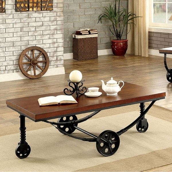 Reese Industrial Style Coffee Table, Dark Oak Finish