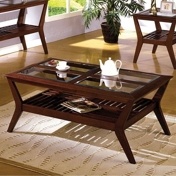 Virginia Beach Coffee Table , Dark Cherry Finish