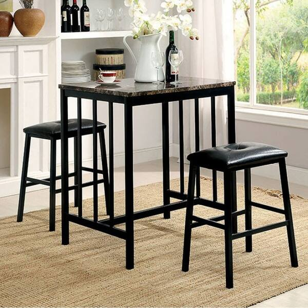 Joleen 3 Piece Counter Height Table Set with Faux Marble Top, Black