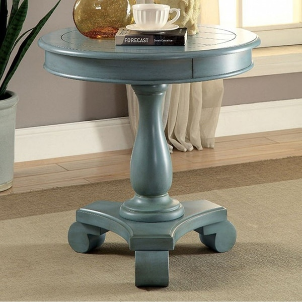 Kalea Transitional Round Accent Table, Antique Teal