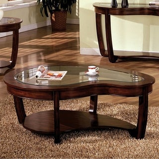 Crystal Falls Transitional Coffee Table, Dark Cherry