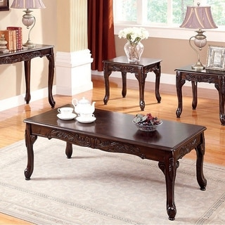 Benzara Cheshire Traditional Dark-cherry-finished Wood 3-piece Table Set