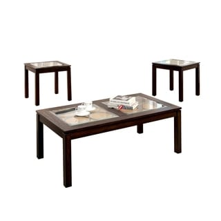 Kendra Contemporary Coffee Table Set of 3, Dark Oak Finish