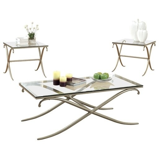 Serra Transitional Style Metallic Coffee Table Set, Gold, Set Of 3