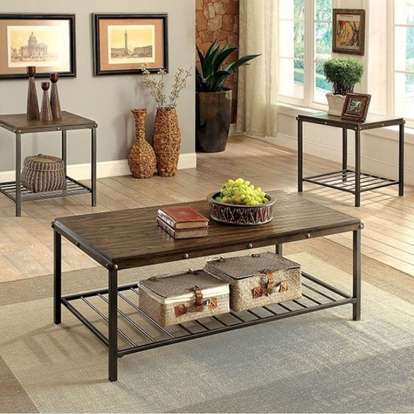 Shop Maude Industrial Coffee Table Set, Dark Oak Finish