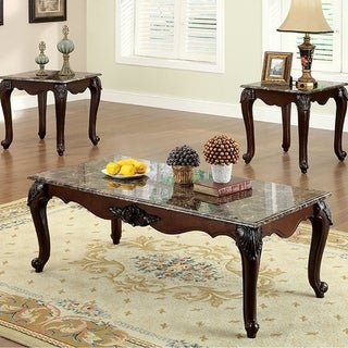 Colchester Traditional 3 Piece Coffee Table Set, Dark Cherry Finish