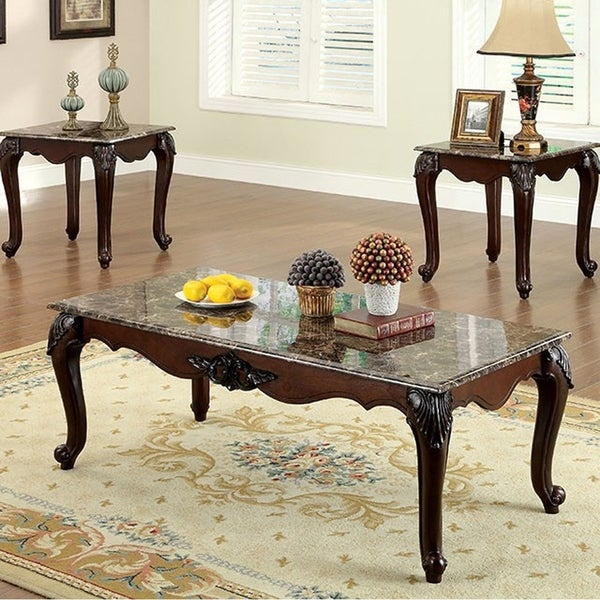 Colchester Traditional 3 Piece Coffee Table Set Dark Cherry Finish