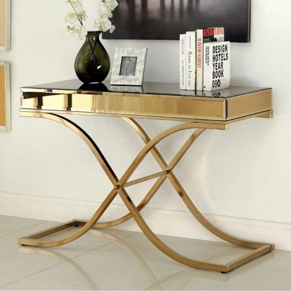 Sundance Contemporary Sofa Table,Gold