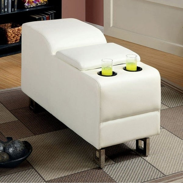 Kemi Console In White Bonded Leather