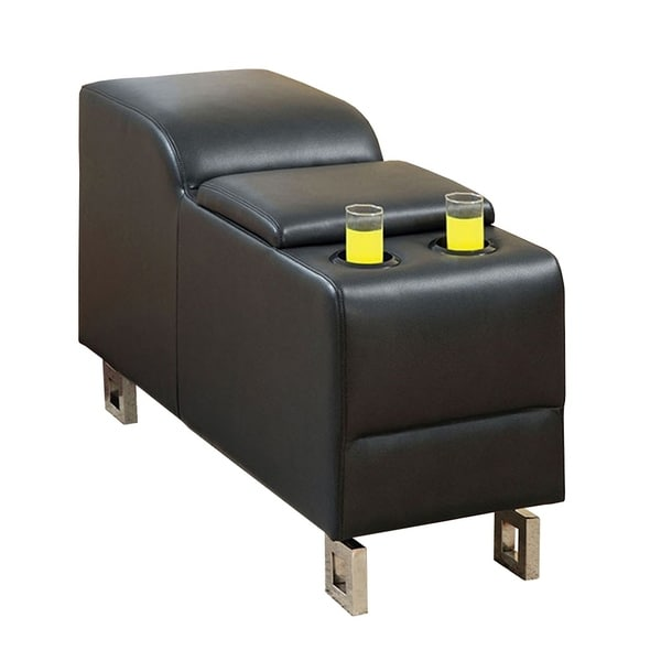 Kemi Contemporary Bonded Leather Black Console