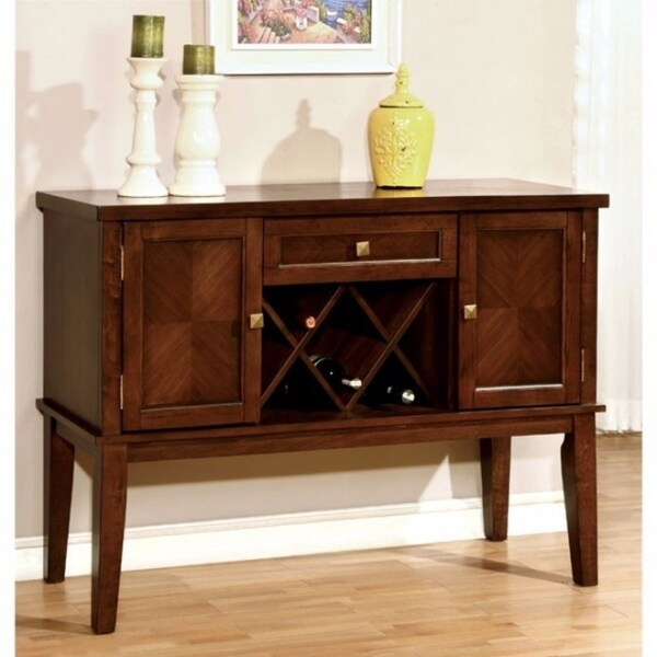 Hillsview I Transitional Style Server, Brown Cherry