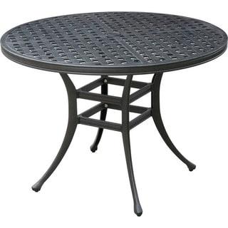 Chiara II Contemporary Round Patio Dining Table , Dark Gray