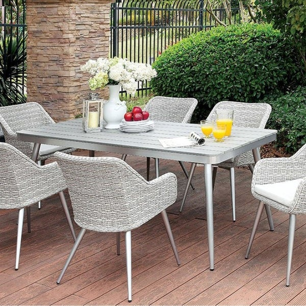 Shivani Contemporary Patio Dining Table, Silver