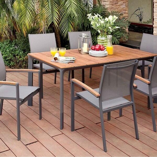 Benzara Oshawa Contemporary Grey Aluminum Patio Dining Table With Oak-look Top