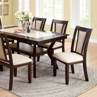 Brent Two-Color Dining Table, Dark Cherry & Ivory Finish