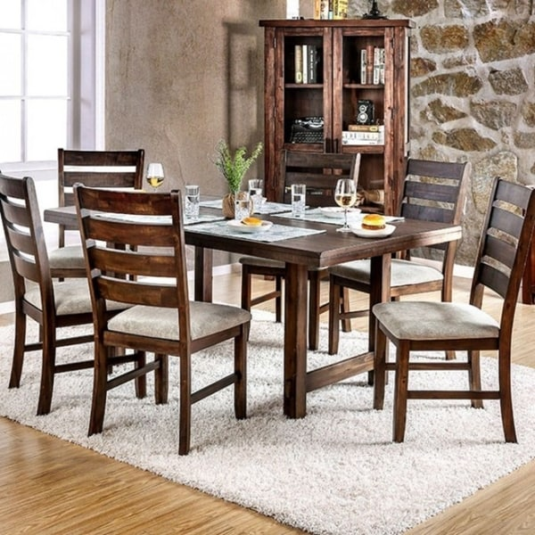 Charmant Wallis Transitional Style Dining Table, Walnut Finish