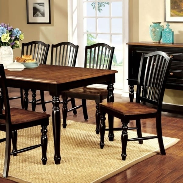 Mayville Cottage Dining Table, Black & Antiqued Oak