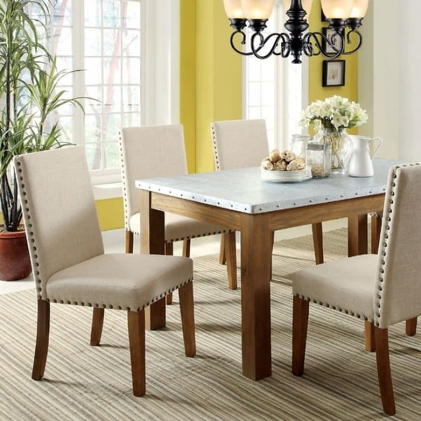 Walsh Dining Table With Galvanized Iron Top, Natural Tone Finish