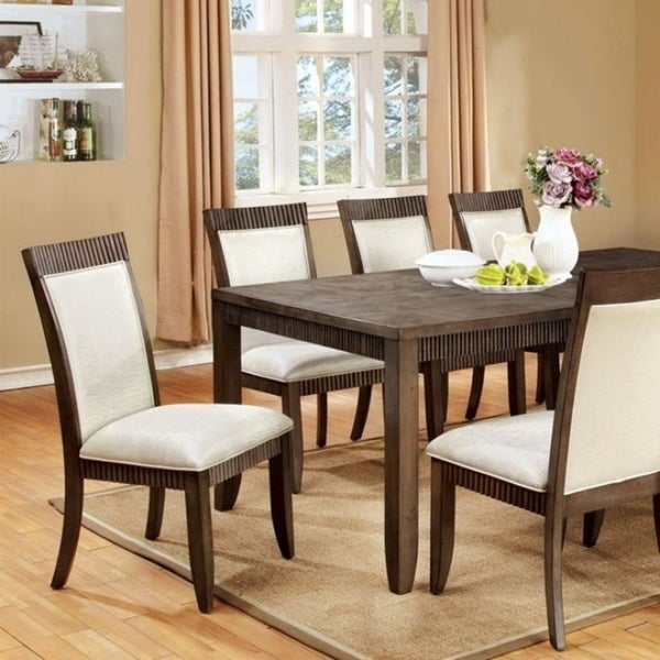 Forbes I Transitional Style Dining Table With Itching Border, Gray