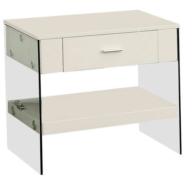 Raya Contemporary Style End Table, White