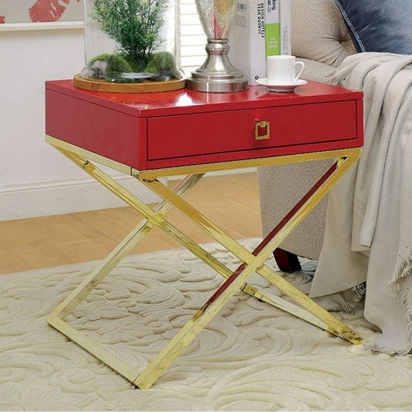 Rhona Contemporary Style Side Table, Red