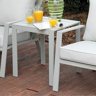 Benzara Cordelia Grey Metal Contemporary End Table