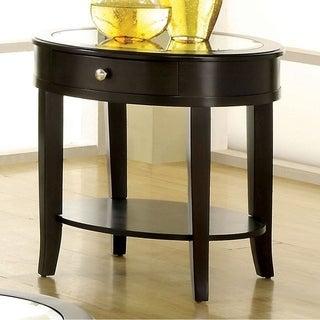 Furniture Of America Slovaria Dark Walnut Glass Top End