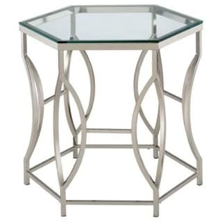 Zola Contemporary End Table In Chrome Finish