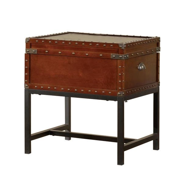 Milbank Industrial Style End Table Cherry Finish