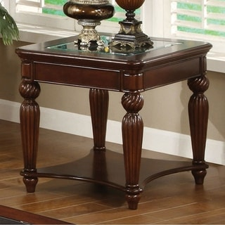 Delightful Windsor Traditional End Table In Dark Cherry Finish