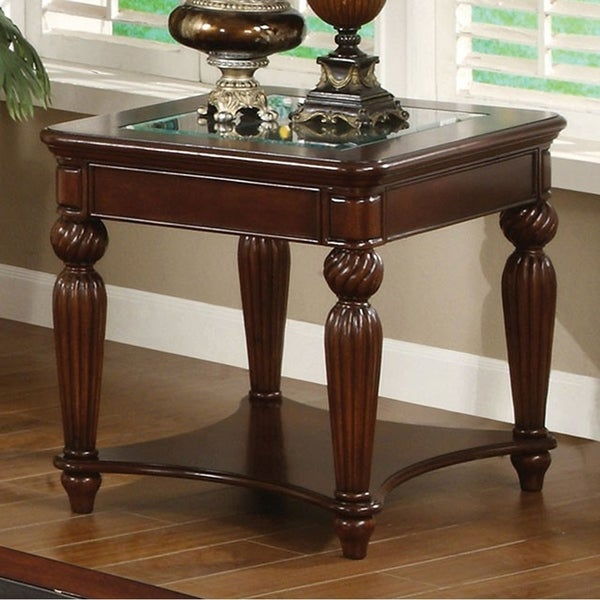 Windsor Traditional End Table In Dark Cherry Finish
