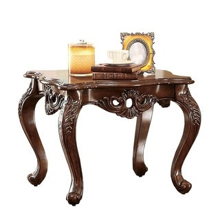 Jahmal Transitional Style End Table, Brown
