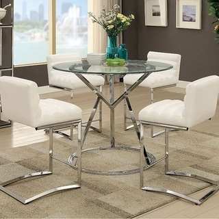 Benzara Livada II Chrome Finish Metal Tempered Glass Contemporary Dining Table
