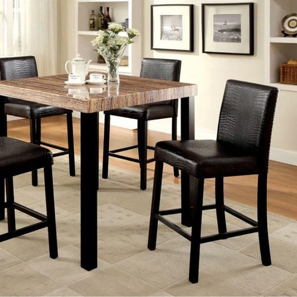 Rockham II Contemporary Counter Ht. Table, Black Finish
