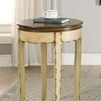 Molly Vintage Side Table, White & Antique Brown