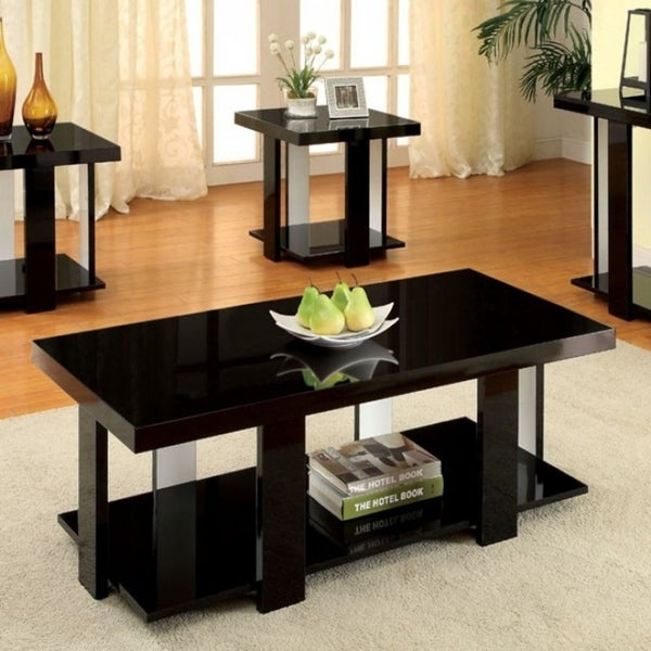Delicieux Lakoti I Striado 3 Pc. Table Set Contemporary Style, Black