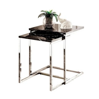 Sue Contemporary Style Nesting Table, Black - 2Pc