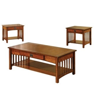 Seville Elegantly Designed 3 Piece Table Set, Antique Oak