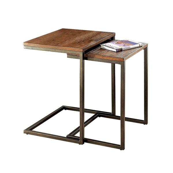 Awe Inspiring Zia Industrial Style Nesting Table Medium Oak 2Pc Home Remodeling Inspirations Cosmcuboardxyz