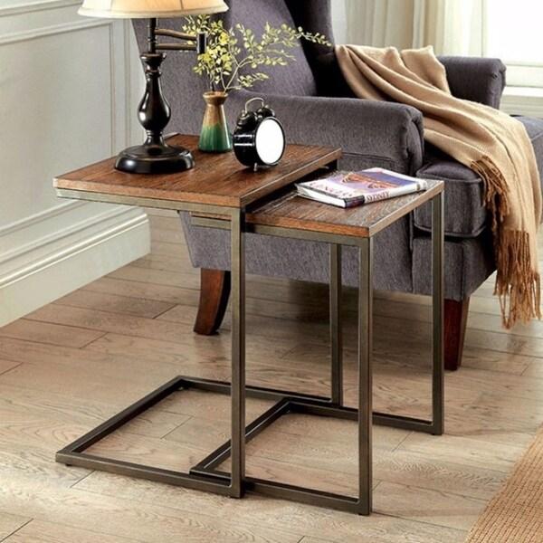 Zia Industrial Style Nesting Table, Medium Oak - 2Pc