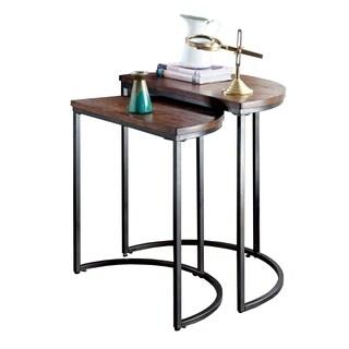 Uma Industrial Design Nesting Table, Medium Oak - 2Pc