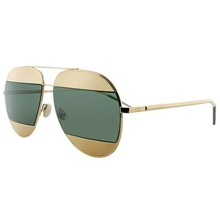 Dior Aviator Split 1 000 Unisex Rose Gold Frame Green Lens Sunglasses